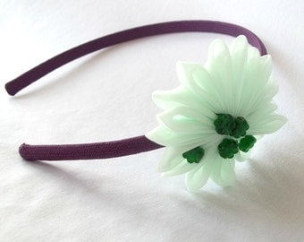 Purple and Mint Flower Headband with Forest Green Beads