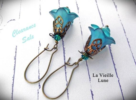 Aqua Flower Dangle Earrings, Bohemian Earrings, Victorian Earrings in Antique Brass, Boho Jewelry, Victorian Jewelry, Clearance Sale