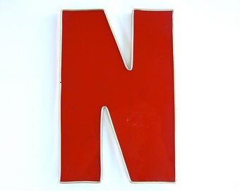 Vintage Salvage Letter N, Initial, Wedding Decor, Red Channel Marquis Advertising, Industrial Sign, Patio Party