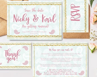 Wedding stationary package, 7 custom items; invitation, save the date, thank you card, RSVP, menu, place card & order of service printables