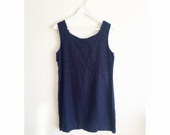 Vintage Summer Daydream Navy Blue Linen Mini Dress S M