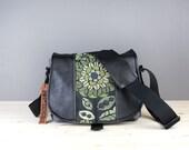 Black Green Floral Black Leather Camera Satchel Bag DSLR- PRE-ORDER