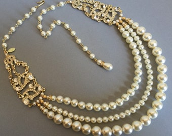 Pearl Backdrop Necklace in Gold and Ivory with Art Deco Rhinestone 3 multi strands Swarovski pearls with Long Backdrop teardrop dangle sexy