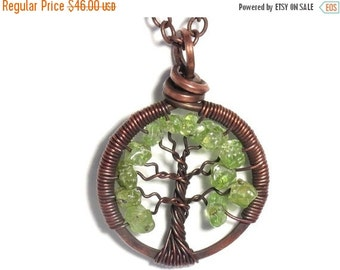 25% OFF Vacation Sale The Mini Tree of Life Antiqued Copper Necklace in Peridot Stone.