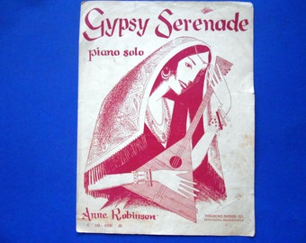 Vintage Gypsy Serenade Sheet Music, Piano Solo Music, Anne Robinson
