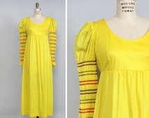 Yellow Princess Dress S/M • Empire Waist Maxi Dress • 70s Maxi Dress • Puff Sleeve Renaissance Dress • Long Sleeve Smock Dress | D814