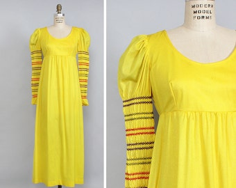 Yellow Princess Dress S/M • Empire Waist Maxi Dress • 70s Maxi Dress • Puff Sleeve Renaissance Dress • Long Sleeve Smock Dress | D814