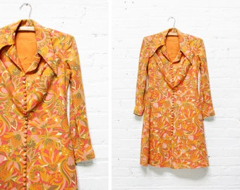 60s Dress XS • 1960s Psychedelic Dress XS/S • Mod Mini Dress • Button Down Dress | D386