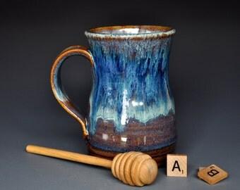 Large Blue Pottery Mug Ceramic Beer Stein Handmade Stoneware