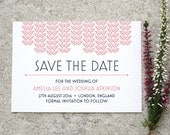 Art Deco 'Save the Date' / 'Gatsby' 1920s Wedding Card / Engagement Announcement / Rose Pink Navy / Custom Colours Available / ONE SAMPLE