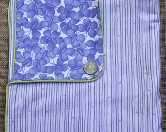 Baby blanket in purple butterflies and stripes