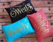 Personalized Pillow - Name Pillow - Metallic Monogram Pillow - 12 x 18 - Solid Colors with Imprinted Name - Fancy Font - Dorm Pillow