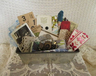 Vintage Findings Supplies Scraps - Mixed Media, Assemblage, Altered Art - Small Metal Loaf Tin - Lace Buttons Paper Fabric