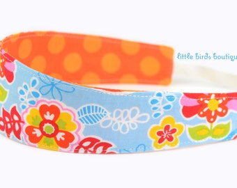 Reversible Fabric Headband- Children Toddler in Multi Colored Paisley and Orange Polka Dots