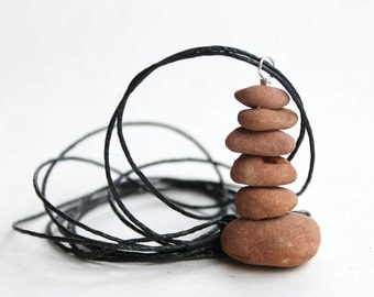 Spiritual Sedona Red Rock Cairn Necklace with creek stone and black linen cord