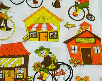 2 1/4 Yards Funky Retro Children Riding Bicycles Fabric 1977 School House Town Cotton Material Brown Orange Vintage Crafts Decor