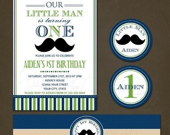 SALE Little Man Blue and Green Birthday Party Package Printable