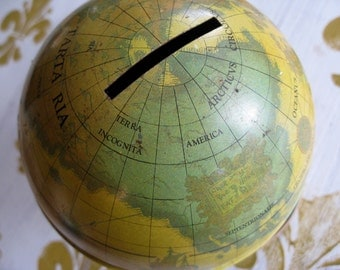 "Cool Vintage 50's Ohio Art Old World Globe 5"" tall  Ships Explorers  Coin Bank"