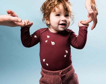 Polliwog Bordeaux- Organic Long Sleeve Onesie. Organic cotton one piece / bodysuit romper and perfect baby shower gift