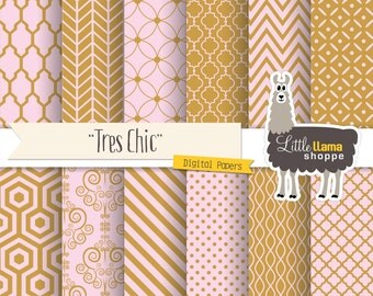 Pink and Gold Digital Paper, Pink & Gold Scrapbook Paper, Pink and Gold Digital Backgrounds, INSTANT DOWNLOAD, Commercial Use