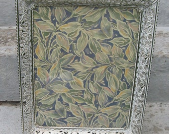 brass filligree frame larger size 10 by 13 new old stock original box both easel and loop back