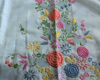 Floral Embroidered Fabric, Polyester Cotton Blend 2 Yards X0516