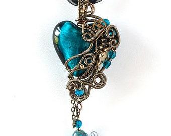 OOAK Teal steampunk wire wrapped heart pendant
