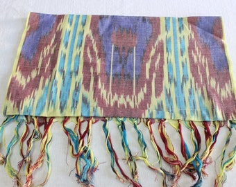 Uzbek Rainbow ikat adras scarf