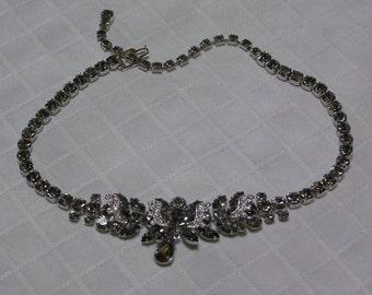 Weiss smokey gray layered pave rhinestones chunky necklace
