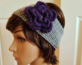 Crocheted Earwarmer with Flower - Gray Purple Crochet Head Band - Purple Flower Head Band - Crochet Headband - Gray Earwarmer