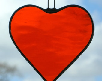 Stained Glass hanging ornament (Love Heart) in bright orange rippling water glass
