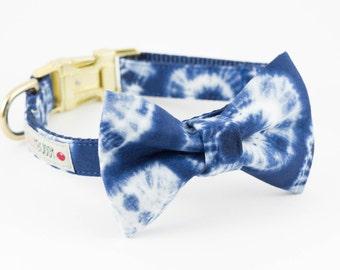 Indigo Shibori Dog Bowtie Collar