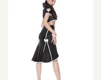 ON SALE Black fishtail skirt with white seamed detail and bows//sizes xs-xl