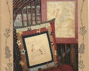 "Waltzing with Bears ""Chicken & Stars"" Primitive Stitchery Pattern"