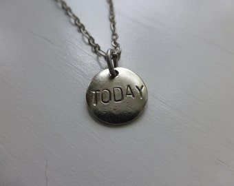 Today, I can, recovery jewelry, hand stamped metal necklace, hope, strength, encouragement, remember, gift, wonderkath