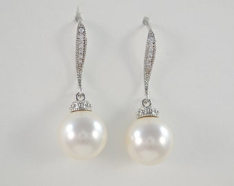 Bridal Swarovski Pearl Earrings, Cubic Zirconia Crystal Ear Wires, Bridesmaid Gifts,  Melisa Earrings - Will Ship in 1-3 Business Days