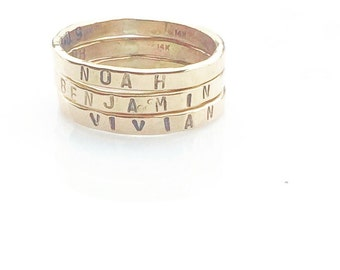 14 k Gold Fill Rings-Personalized Hands Stamped Rings-Name Rings-Armenian Jewelry