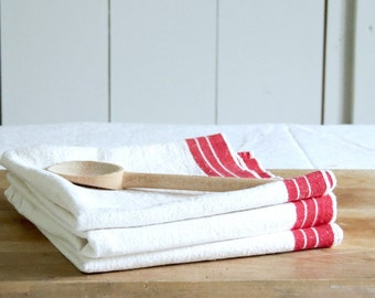 LINEN Vintage Kitchen Towel French Torchon Red French Stripes