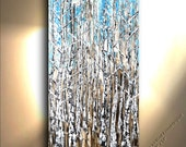NEW - Original Abstract Tree Painting Heavy Textured 48x24 Art by OTO