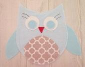 Owl decor , owl nursery decor , blue owl , boy room , nursery wall art , wall decor , felt decoration