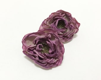 Silk Flowers - Two Small Dry Look Peonies in Antique Lavender - 2.5 Inches - Artificial Flowers