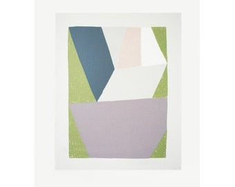 Abstract original screenprint. A geometric print in soft muted colours, green, purple, greys and pink by Emma Lawrenson.