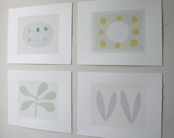 Set of four original abstract screenprints. Trees, leaves, seeds, nests, eggs. Handmade by Emma Lawrenson