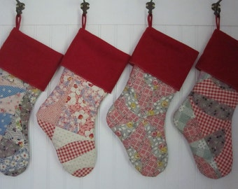 Christmas Stocking Cottage Shabby Vintage Patchwork Quilt with Red Cuff