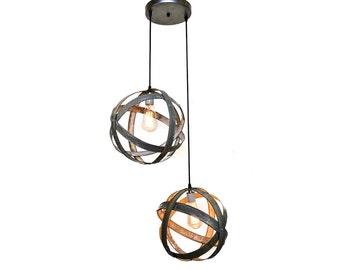 Barrel Ring Chandelier - ATOM - Plicate - Double Globe // Wine Barrel Ring Light // Pendant Light //