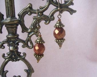 Burnt Orange, beaded earrings