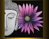 "Buddha painting abstract acrylic art 24""x 24"" stretched canvas  free shipping ready to hang"