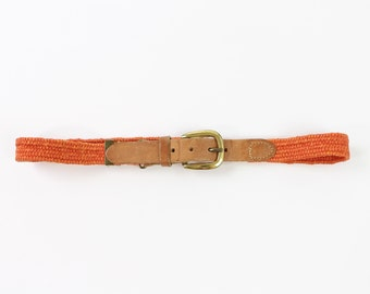 VINTAGE Orange Belt Woven Leather Brass