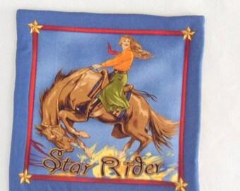 Large Mug Rug Mug Mat Southwest Mug Rug Horse Mug Mat Fabric Hot Plate Cowgirl on Horseback Southwest Design Hot Pad Serving Mat