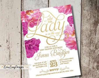 DIY Printable Little Lady Baby Shower Invitation, It's a Girl Invitation, Peonies Invitation, Pink Invitation, Pink and Gold Invitation